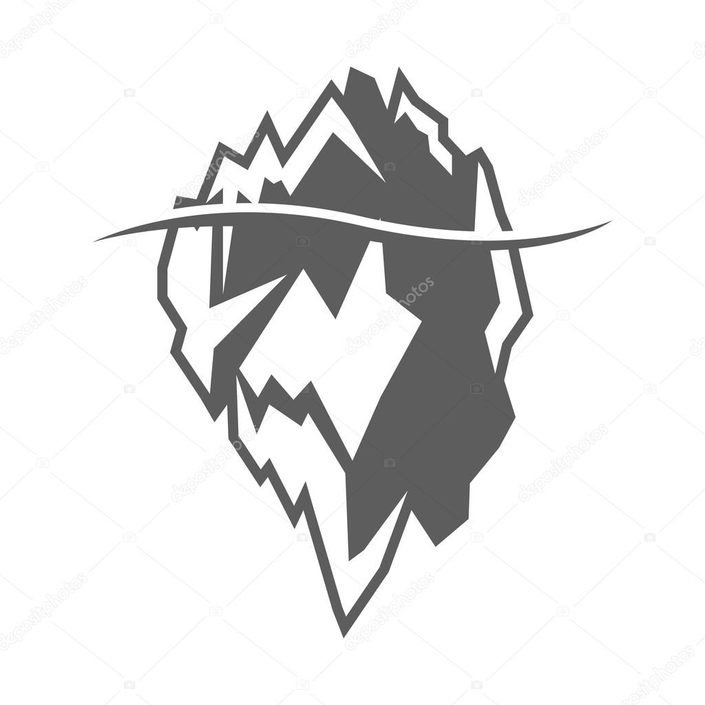 Vector Grey Iceberg Icon On White Background