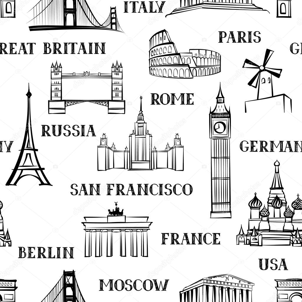 Travel Seamless Pattern Vacation In Europe Wallpaper