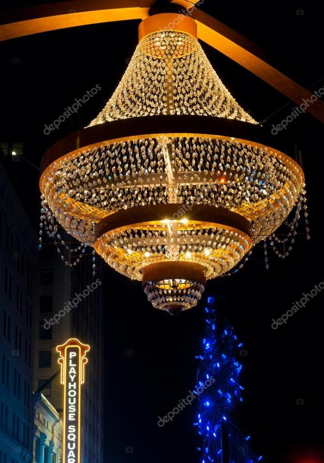 2016 One Of Cleveland S Splashiest New Landmarks Is The Giant Chandelier Suspended Above Euclid Avenue In Theater District Playhouse Square