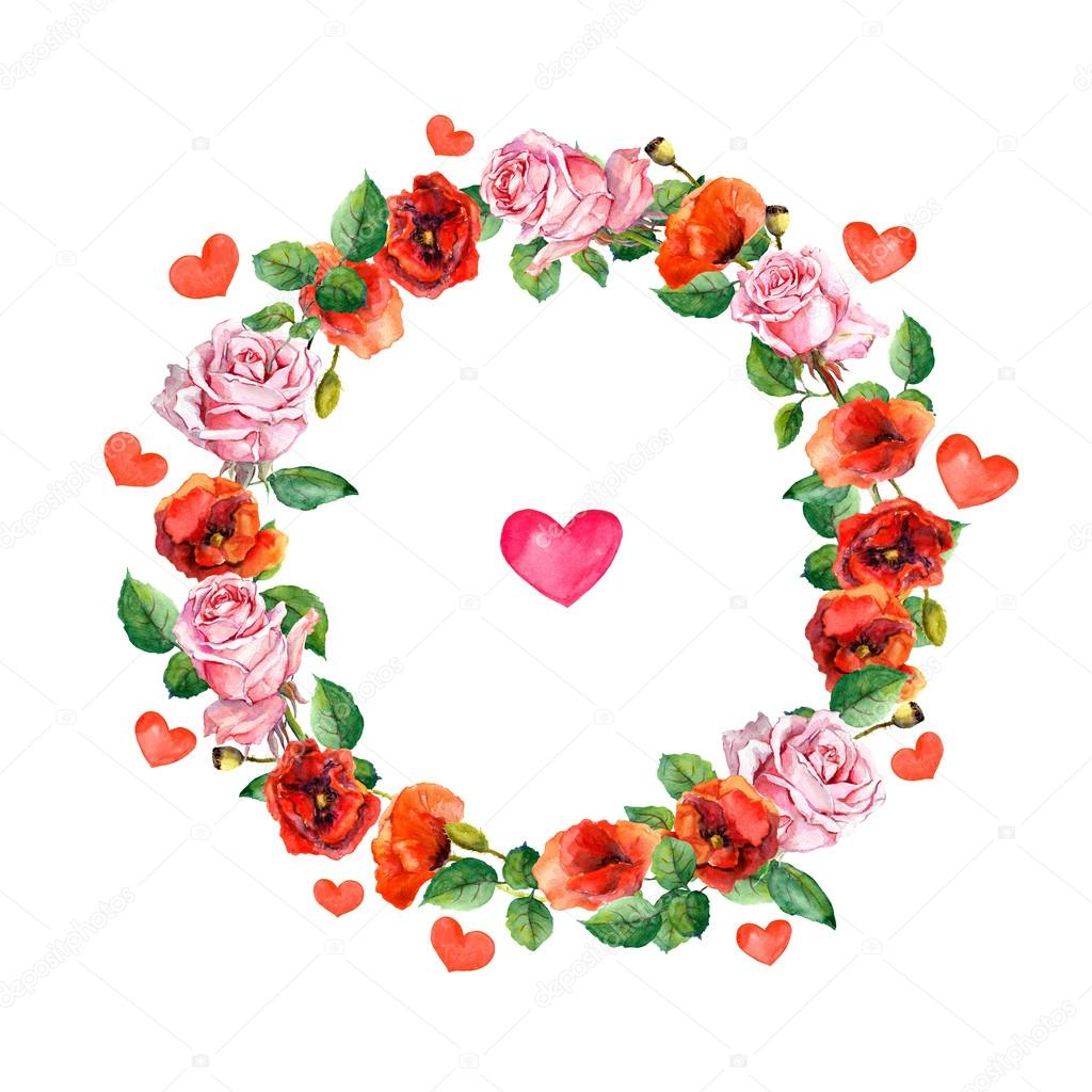 Rose And Poppy Flowers With Heart In Floral Wreath