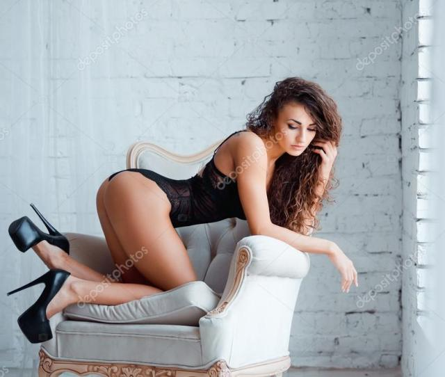 Perfect Sexy Body Legs And Ass Of Young Woman On High Heels Wearing Seductive Black Lingerie Beautiful Hot Female In Lacy Bodysuit Posing On Luxury