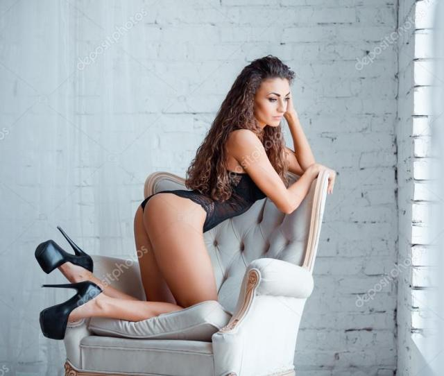 Perfect Sexy Body Legs And Ass Of Young Woman Wearing Seductive Lacy Black Lingerie Beautiful Hot Female In Bodysuit Posing On Luxury Vintage Chair