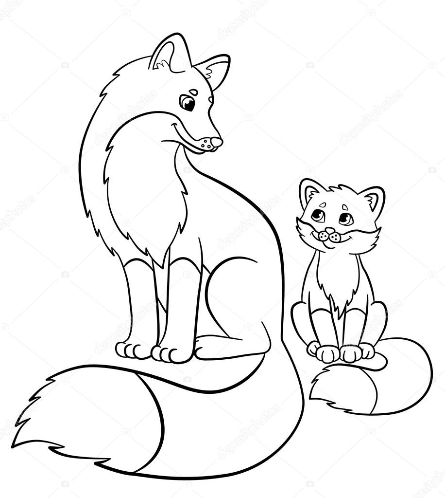 Coloring pages. Wild animals. Mother fox with her little ... | coloring pages of baby animals and mom