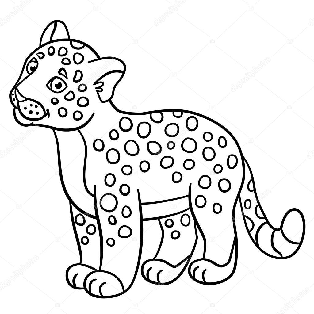 Coloring Pages Little Cute Baby Jaguar Smiles