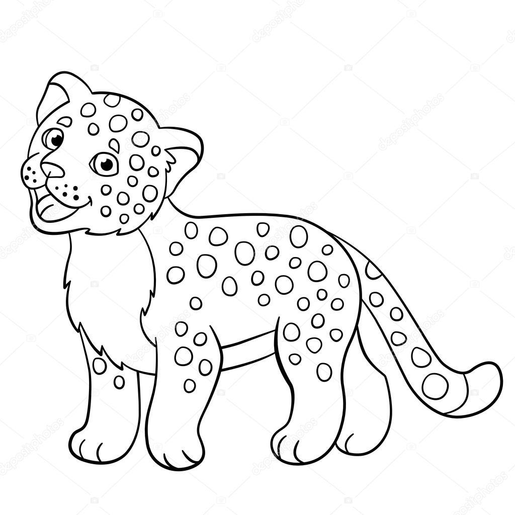 Kleurplaten Kleine Schattige Baby Jaguar Glimlacht