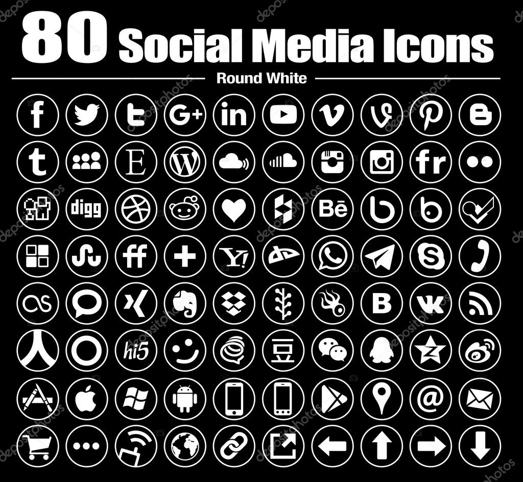 Vector Line Circle Social Media Icons white transparent background