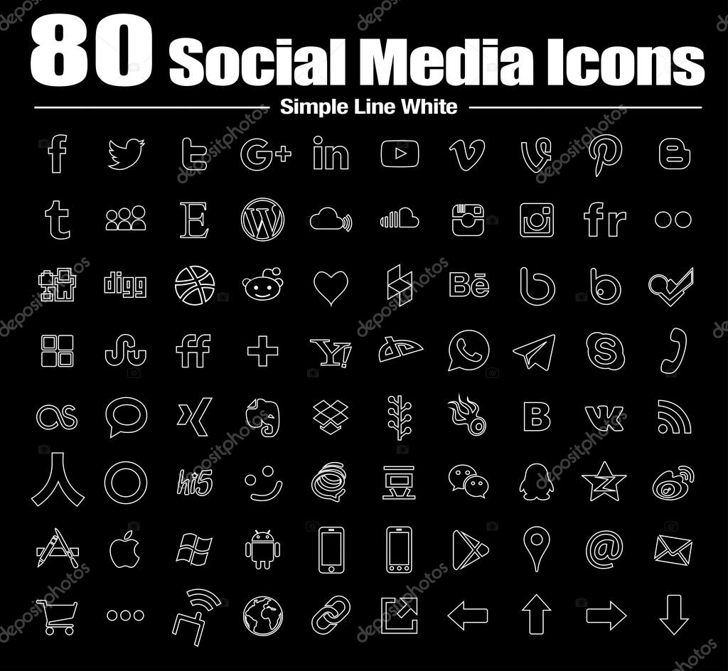 vector line social media icons white
