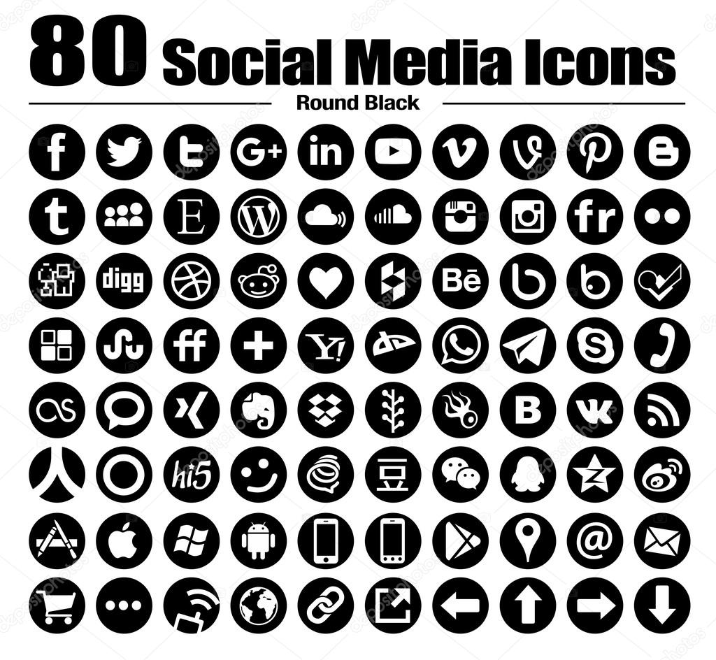 vector round social media icons black
