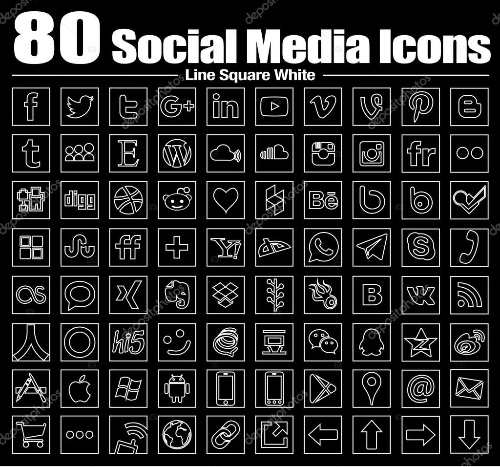 Vector Square Line Social Media Icons white
