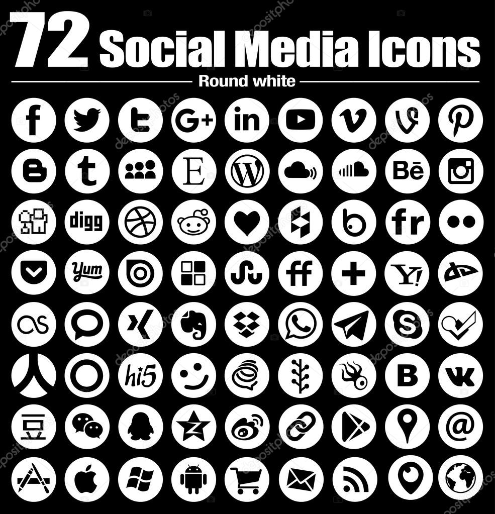 72 round social media icons