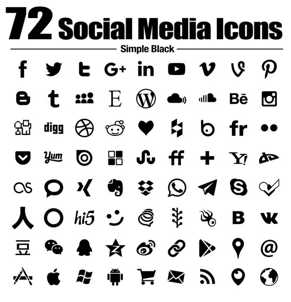 vector black simple social media icons