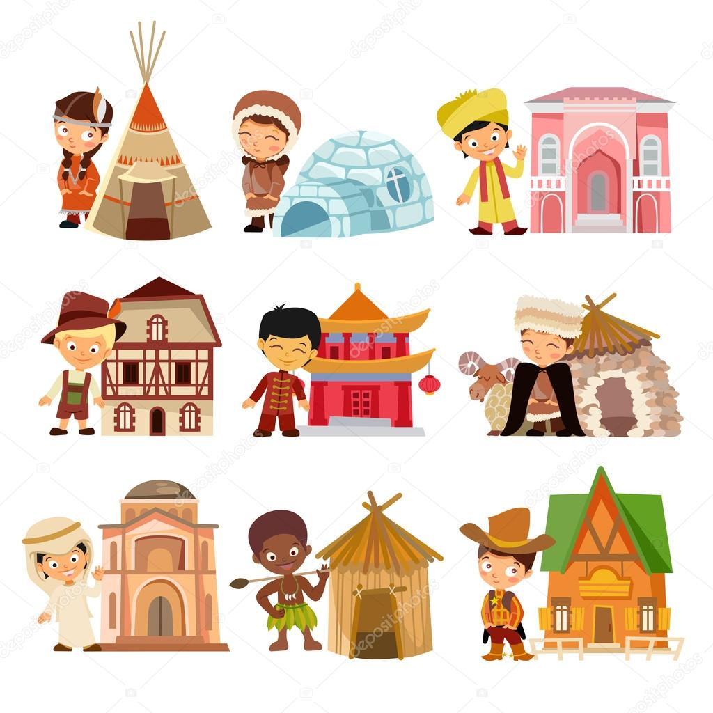 Nationalities With Their Traditional Houses
