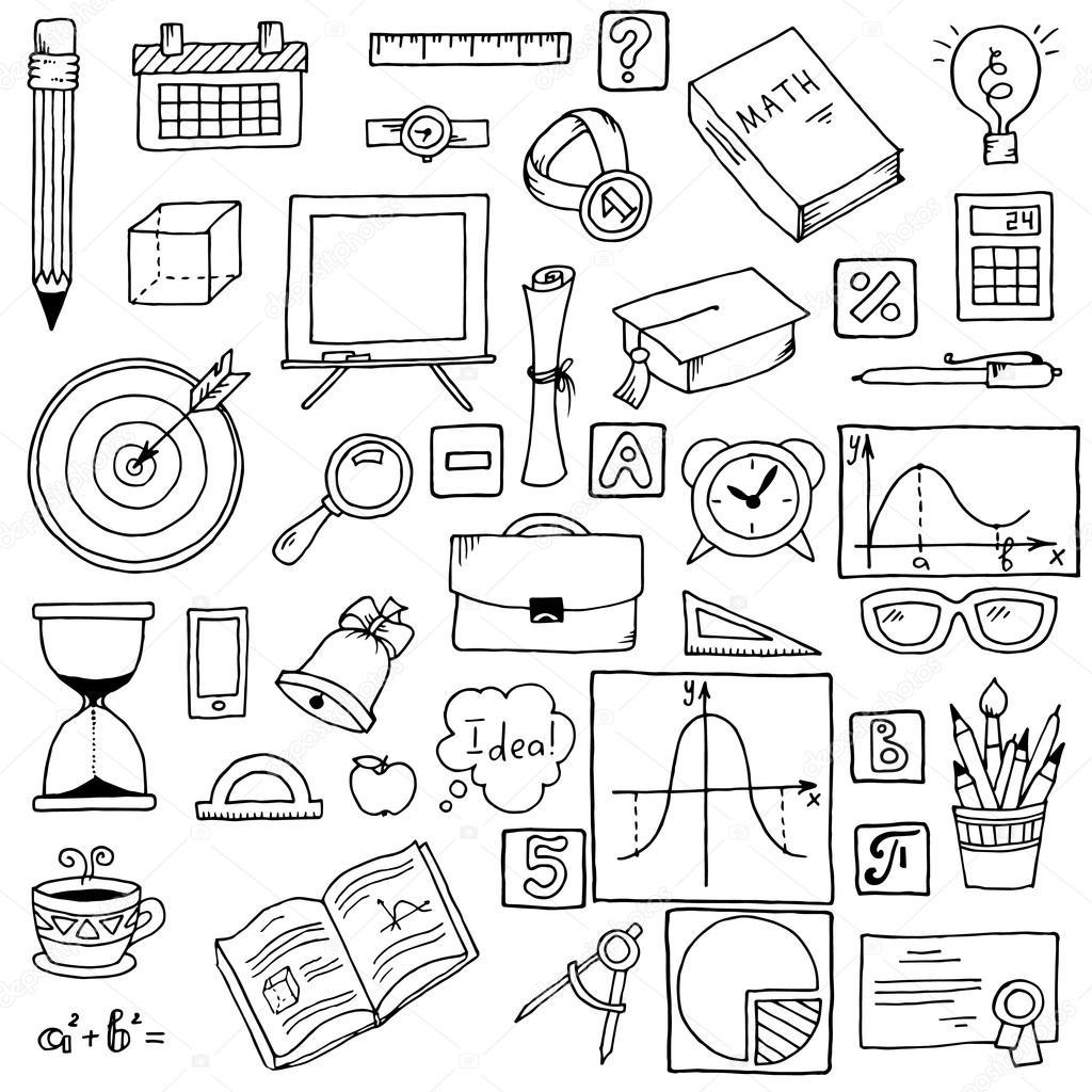 Illustratie Van Pictogrammen Op Een Thema Van De Wiskunde