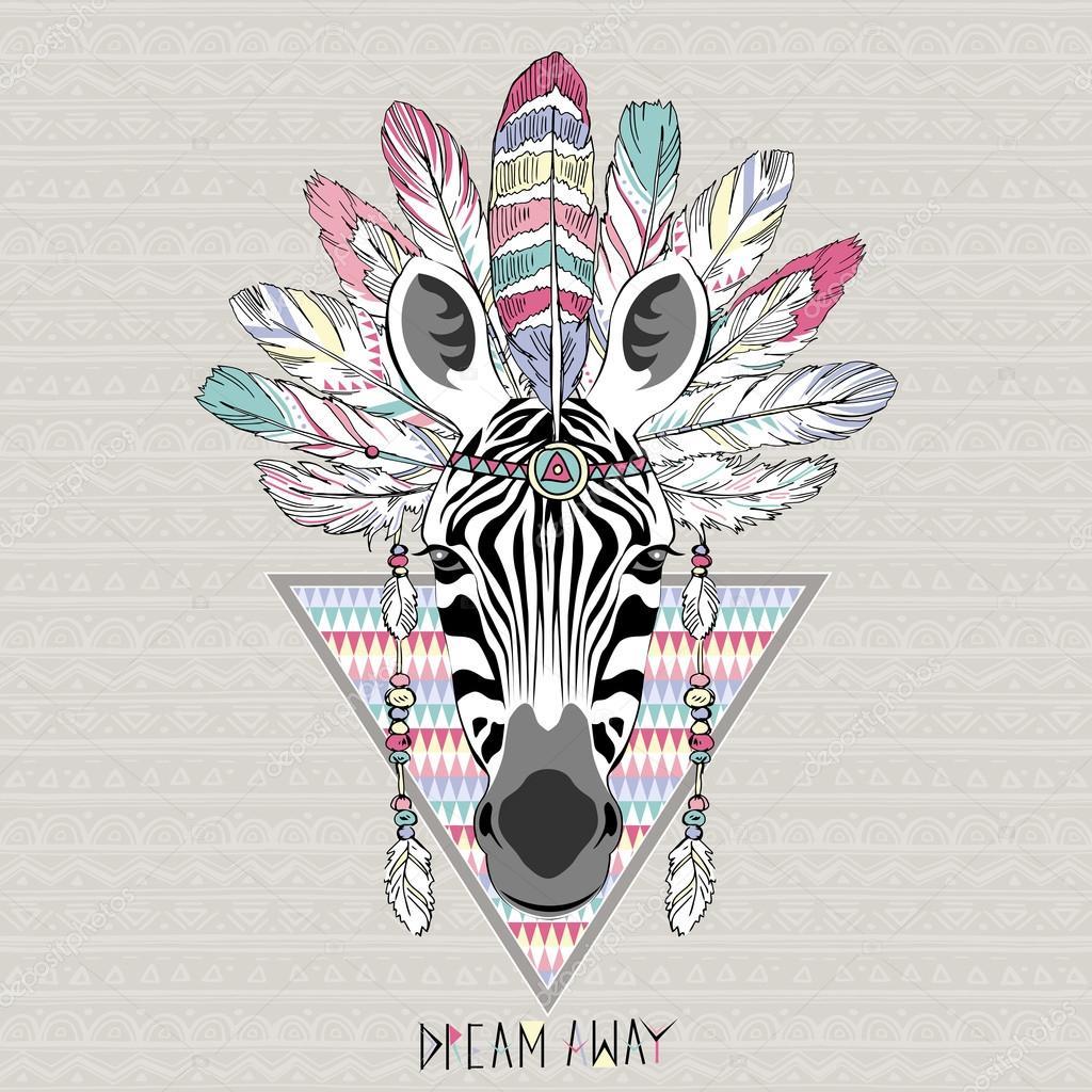 Poster With Aztec Zebra
