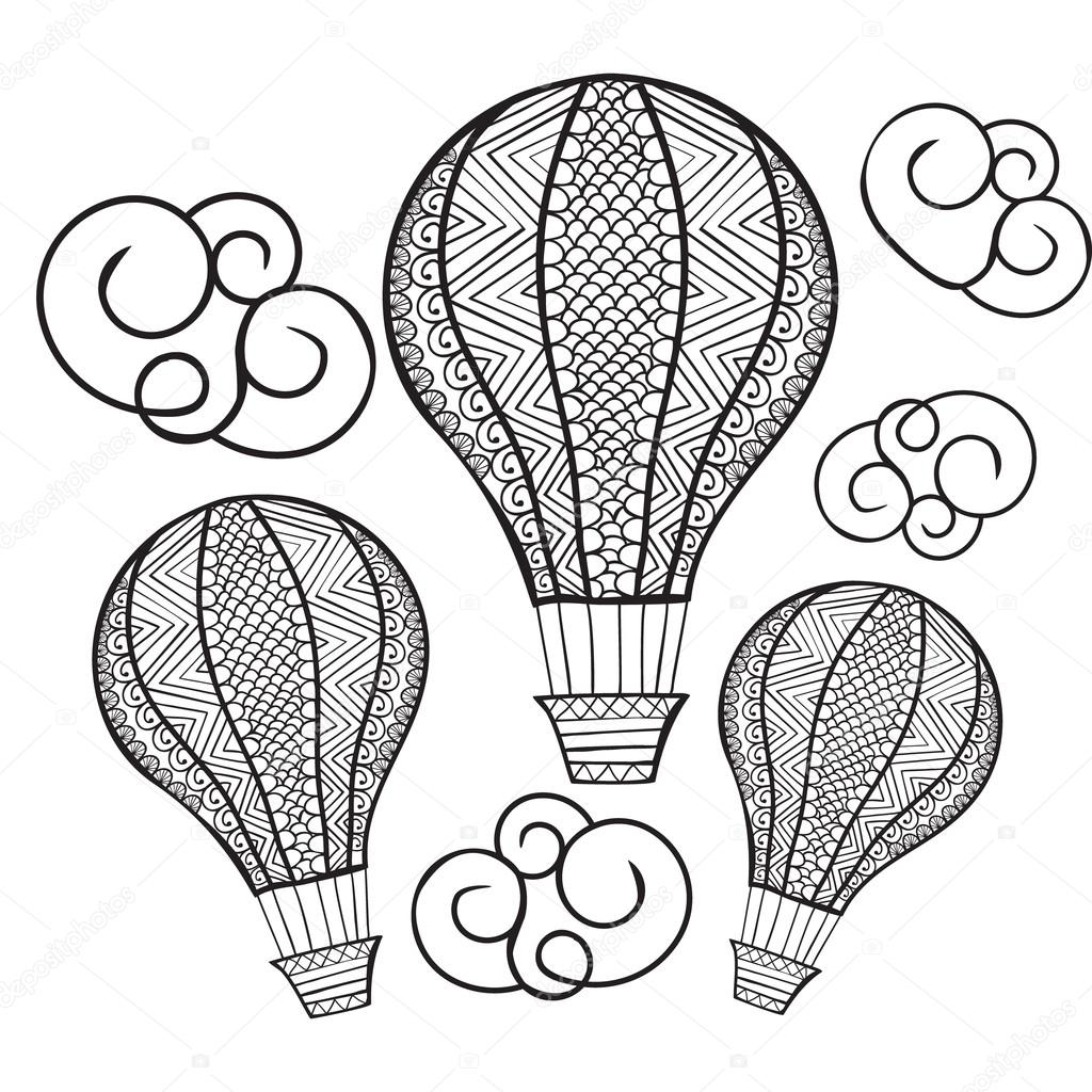 Vector Doodle Hand Drawn Hot Air Balloon Illustration For Colori