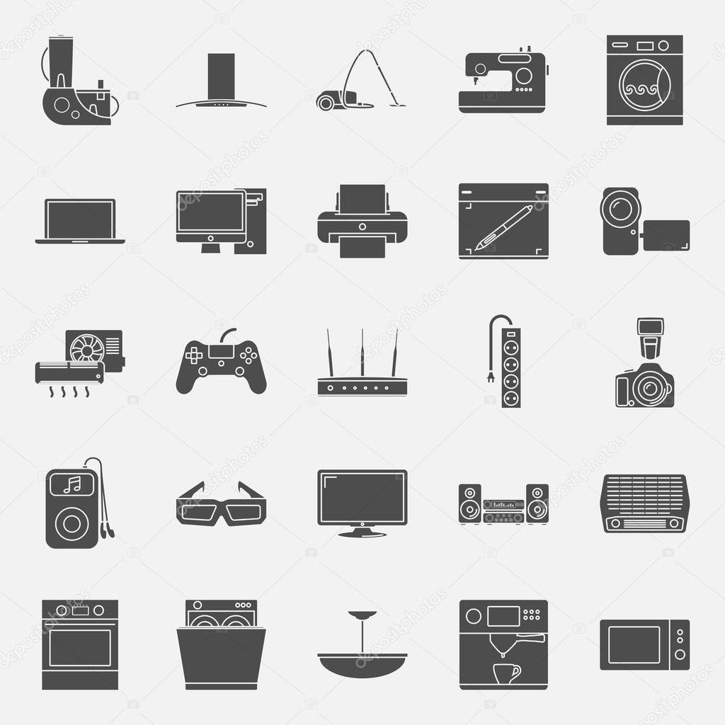 Conjunto De Iconos De Siluetas De Electrodomesticos