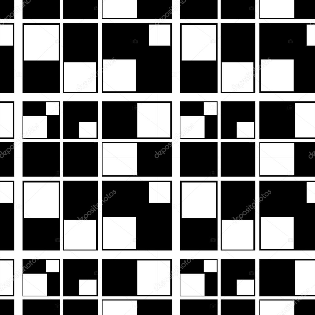 Seamless Abstract Geometric Pattern Squares Black White