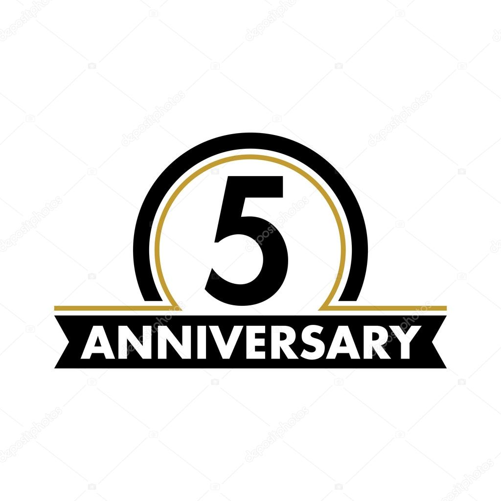 Anniversary Vector Unusual Label Fifth Anniversary Symbol
