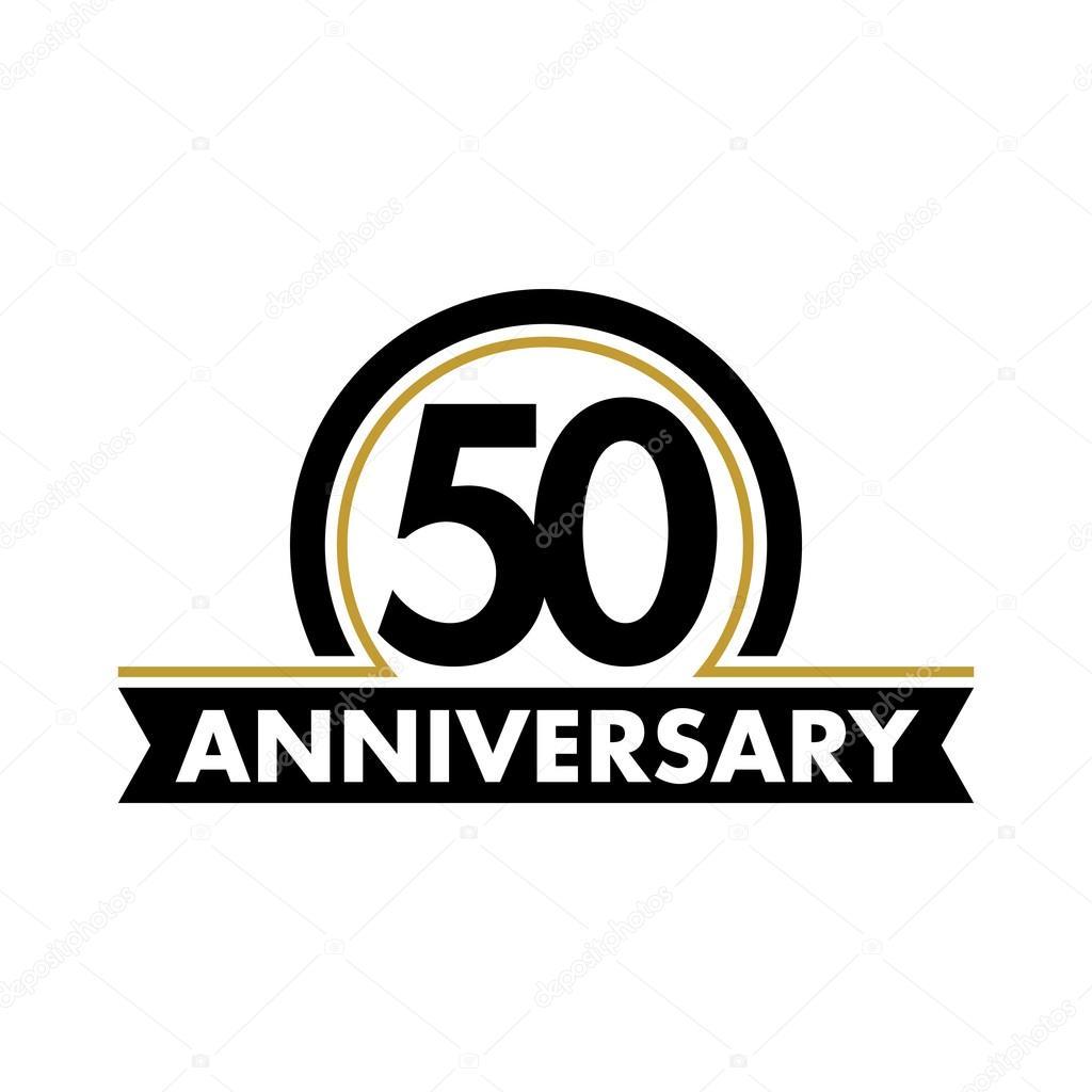 Anniversary Vector Unusual Label Fiftieth Anniversary