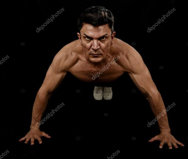 Strong Fit Sport Man Doing Push Up Workout Training On Gym Posing With Naked Torso Ripped