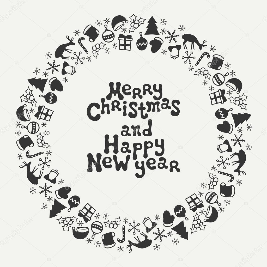 Merry Christmas And Happy New Year Lettering Greeting Card