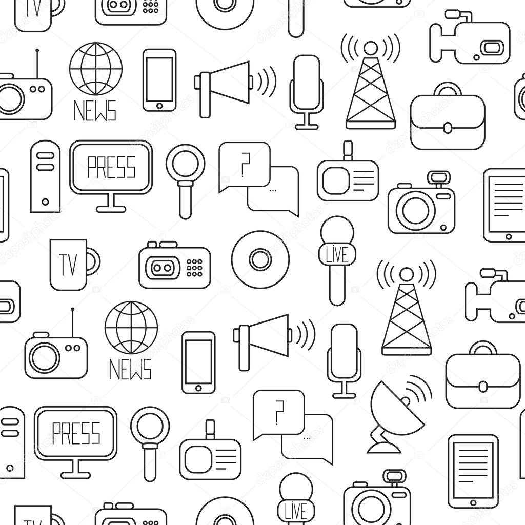 Seamless Pattern Of Of Flat Colorful Vector Journalism