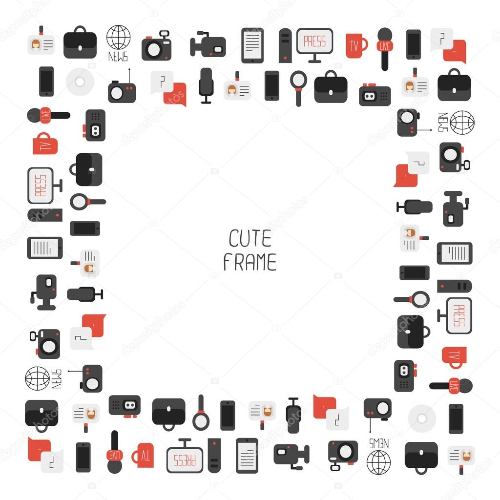 Frame Of Of Flat Colorful Vector Journalism Icons Mass