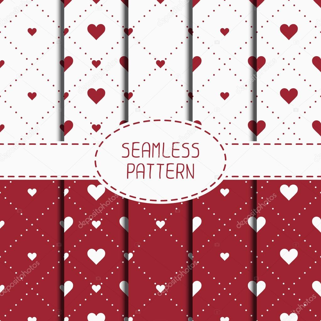 Set Of Red Romantic Geometric Seamless Pattern With Hearts