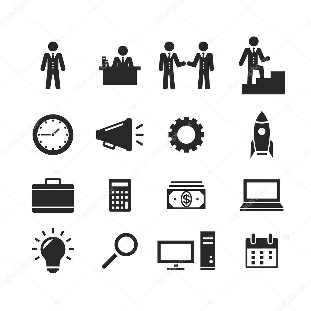 Icones De Pictogramme Noir Vectorielles Business