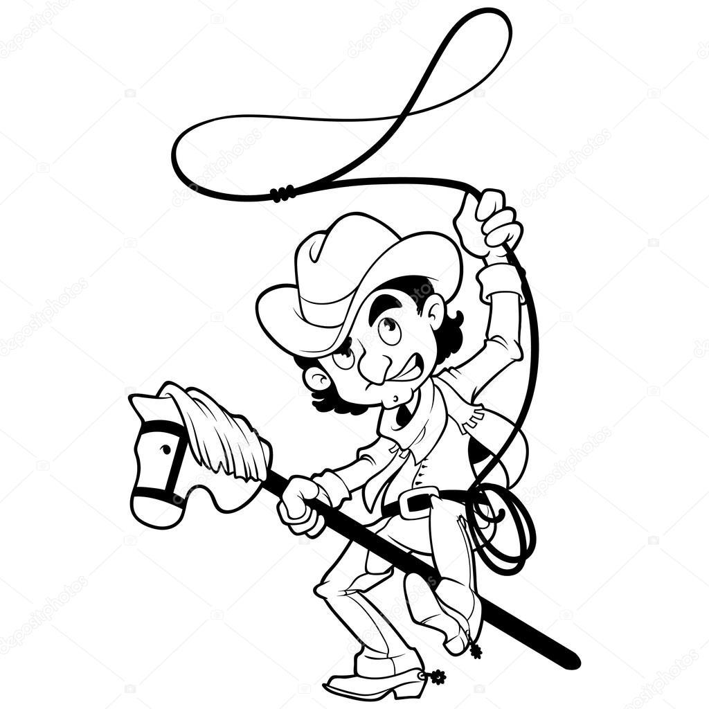 Vaquero Con Lazo En Un Caballo De Palo Perfilado En Un