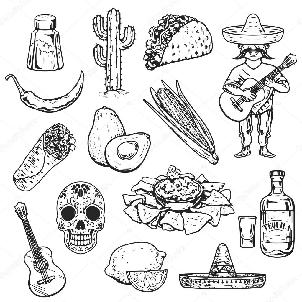 Travel To Mexico Food Culture Drink Cuisine Hand Draw
