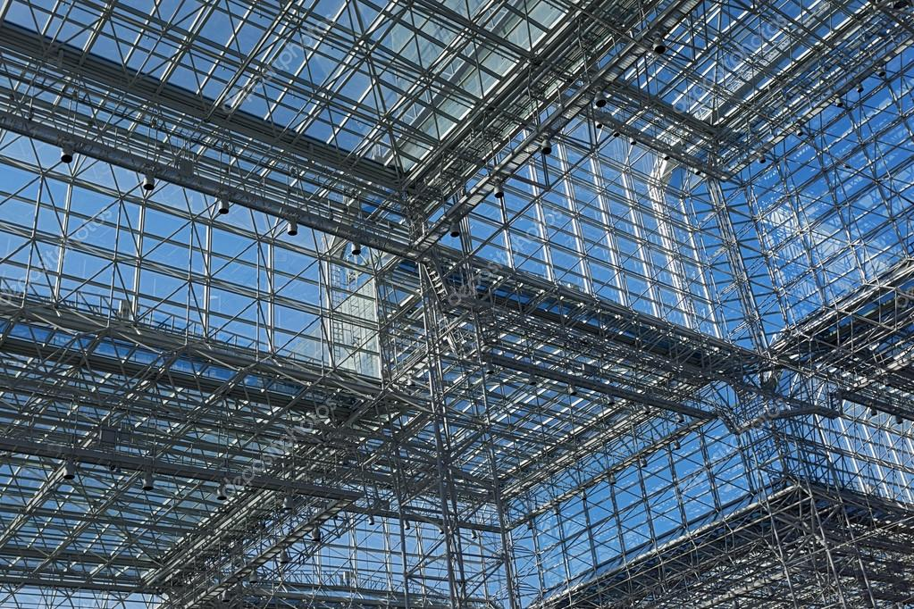 Architecture Blue Glass Ceiling Inside Contemporary Business Hal Stock Photo