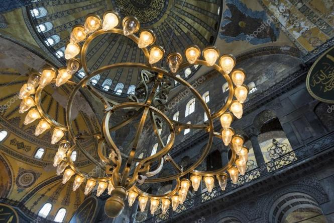 Huge Candle Chandelier Inside Hagia Sophia Istanbul Turkey Stock Photo