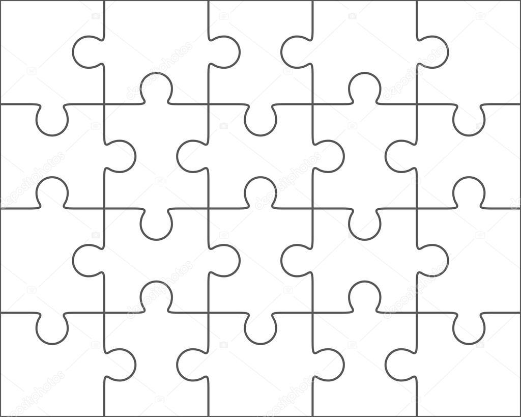 Jigsaw Puzzle Blank Template 4x5 Twenty Pieces