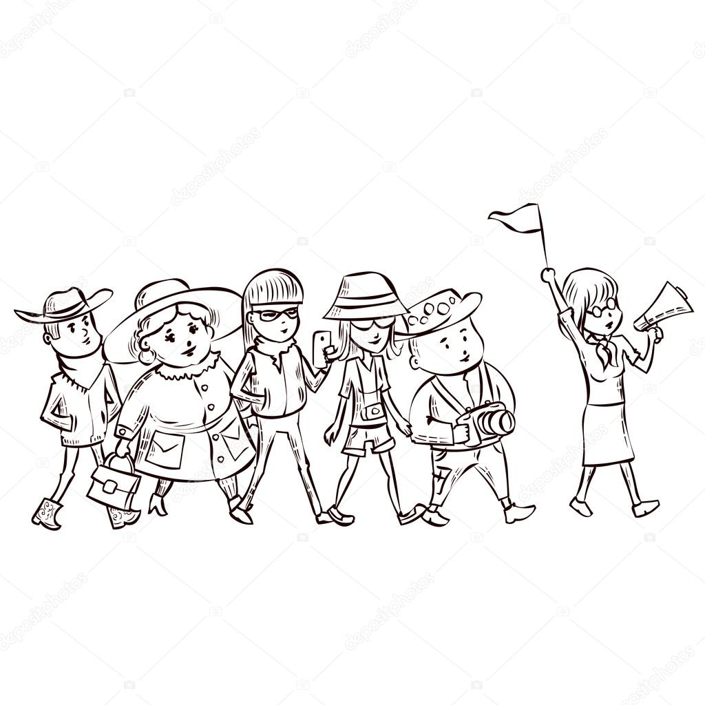 Tour Guide With Group Of Tourists