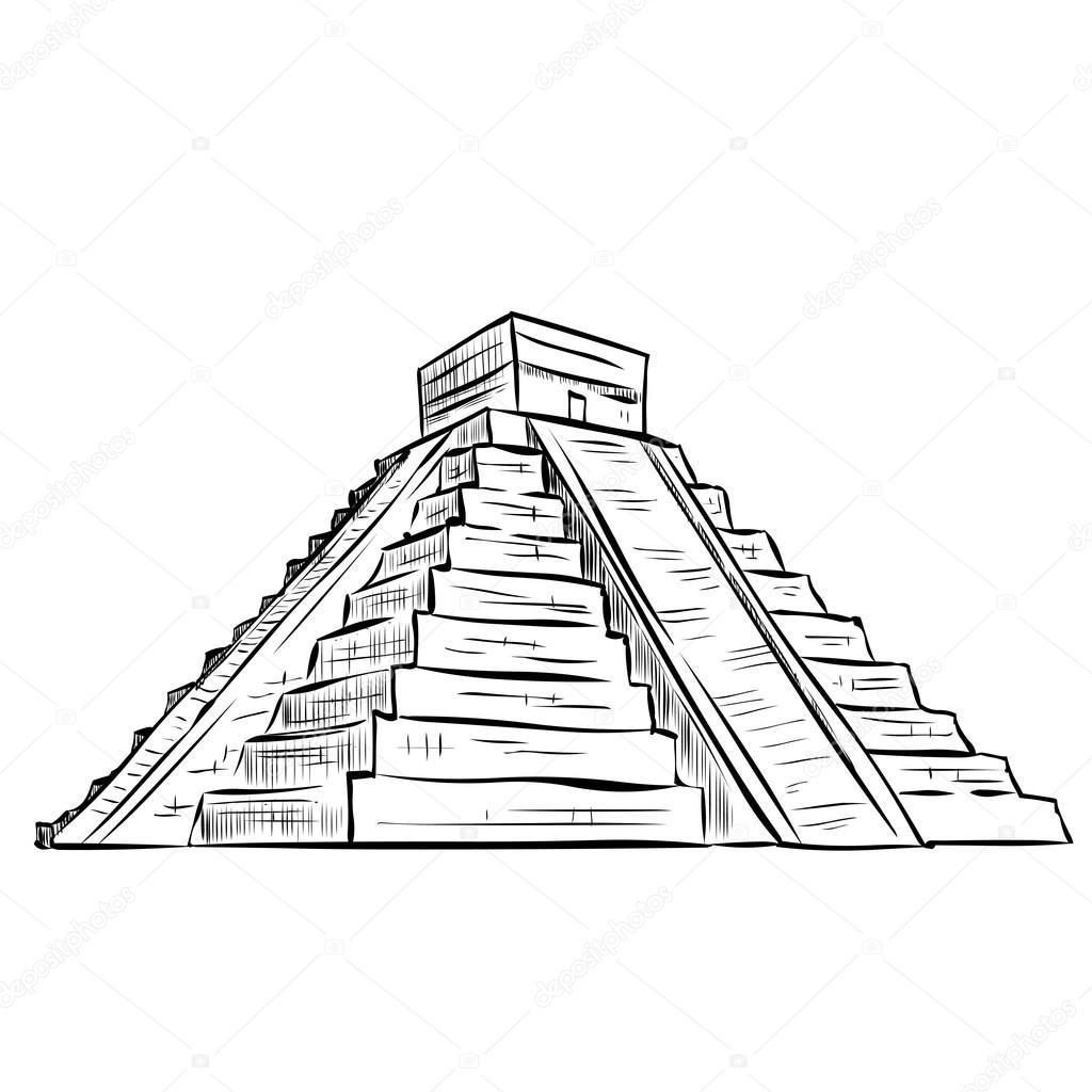 Hand Drawn Mayan Pyramid