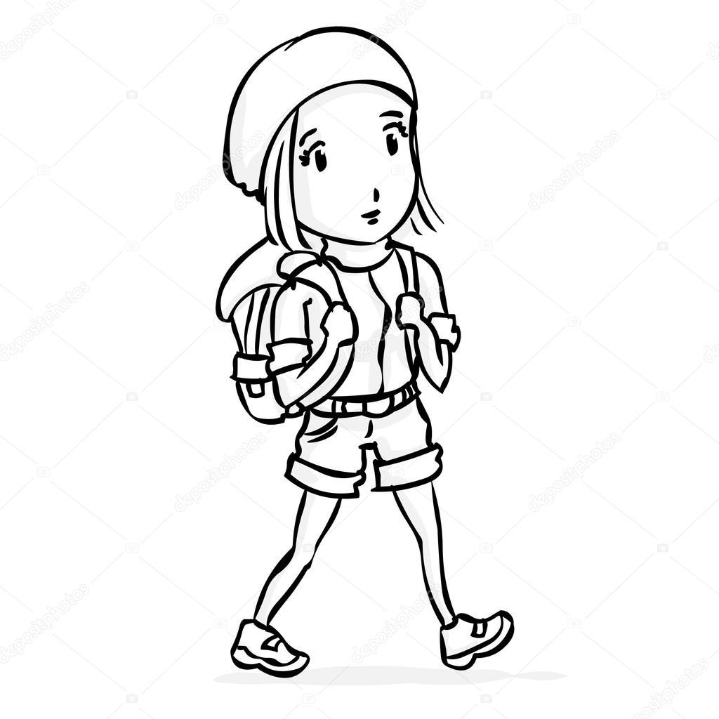 Young Woman Girl Tourist