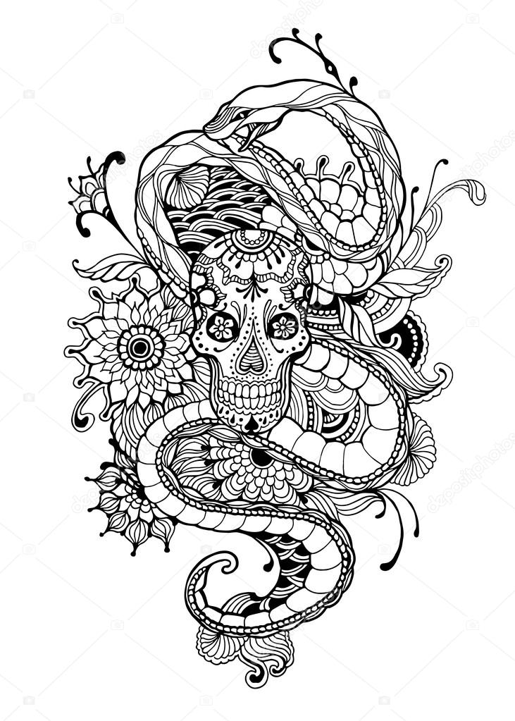 skull and snake tattoo  skull and snake  adult coloring