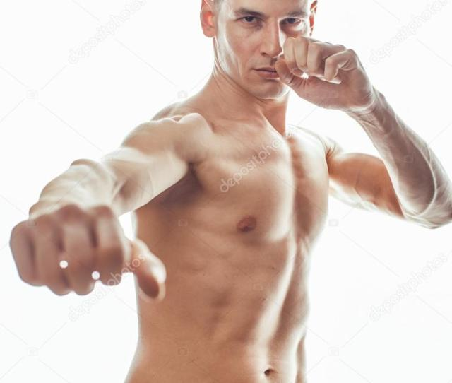 Young Handsome Naked Torso Man Boxing On White Background Isolated Lifestyle Sport People Concept