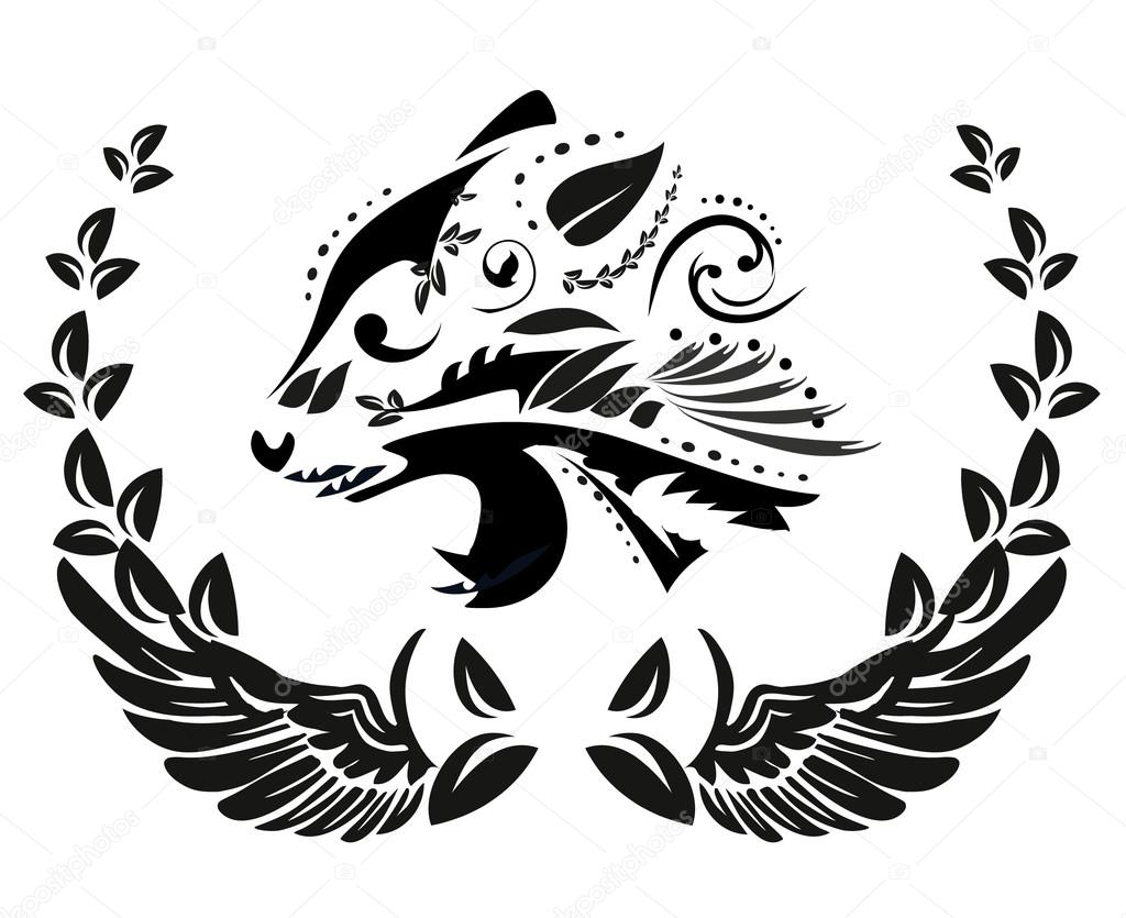Black And White Floral Silhouette Of Panther Head