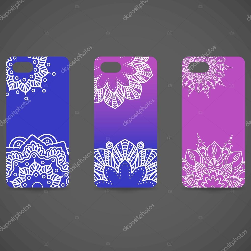 set collection de couverture de telephone hand drawn element ethnique decoratif islam arabe indien motifs ottomanes vector illustration eps 10 pour