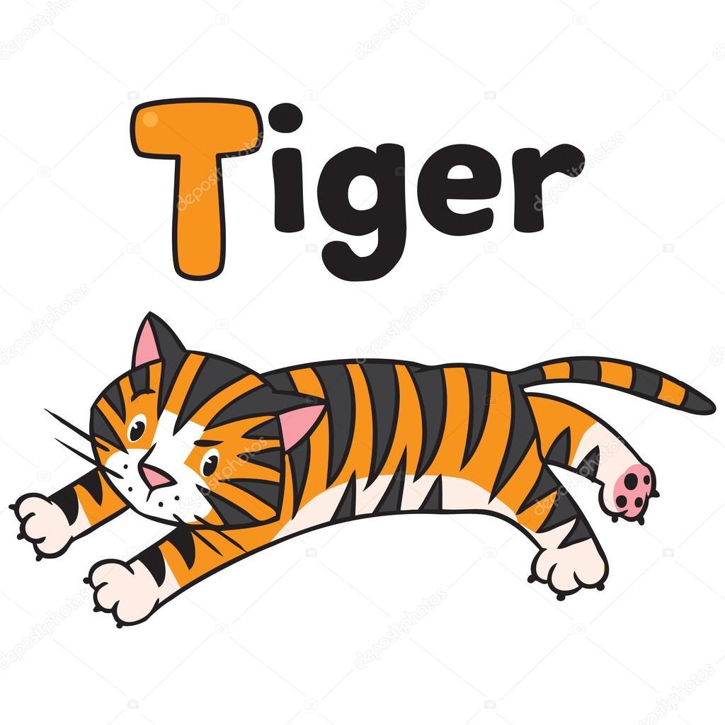 Funny Wild Tiger For Abc Alphabet T