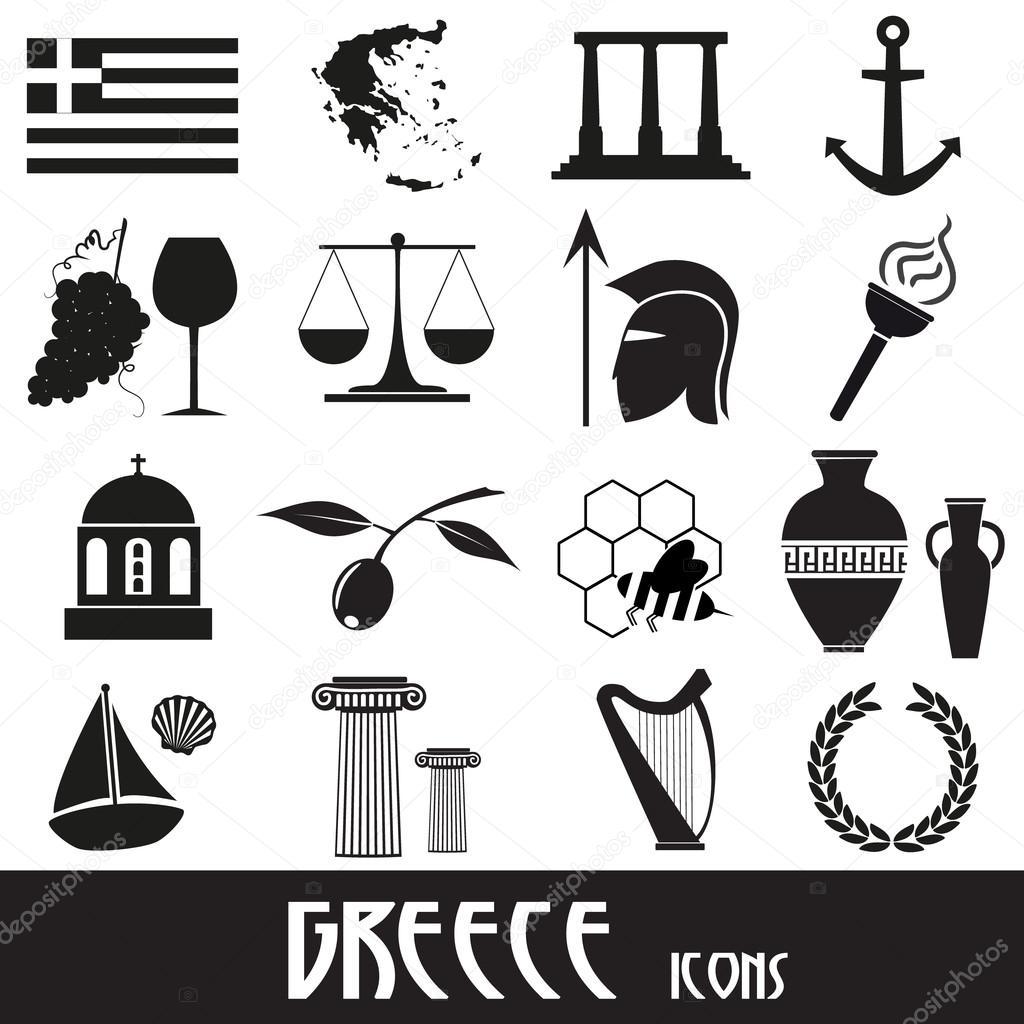 Los Iconos Y Simbolos De Grecia Pais Tema Conjunto Eps10