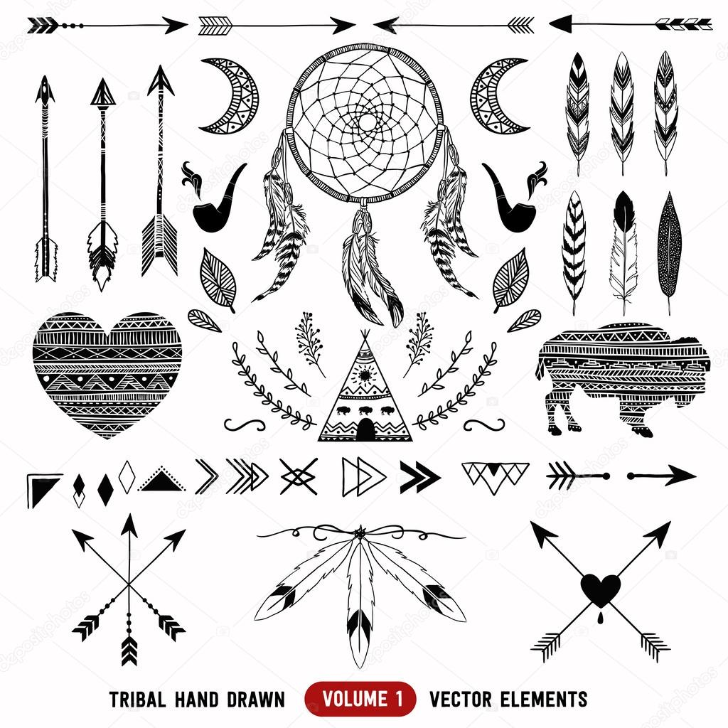 Hand Drawn Vector Tribal Elements Aztec Logos And Badges