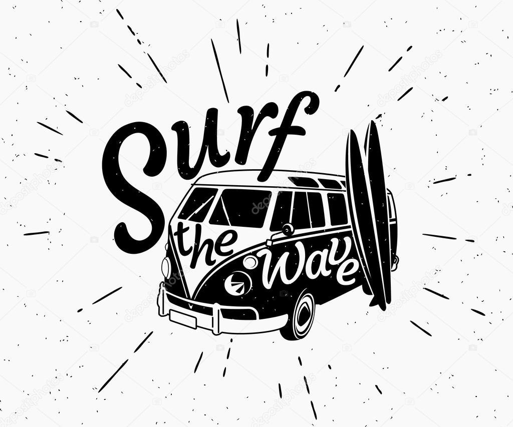 Van Surf Retro Illustration Noir Et Blanche