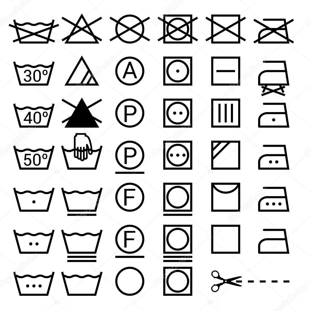 Set Di Simboli Di Lavaggio