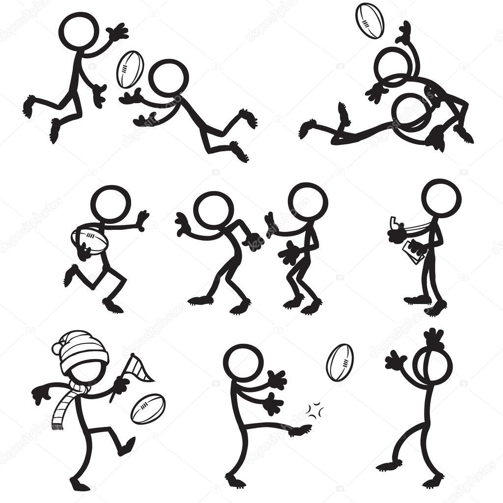 Set Of Stick Figures Playing Australian Football