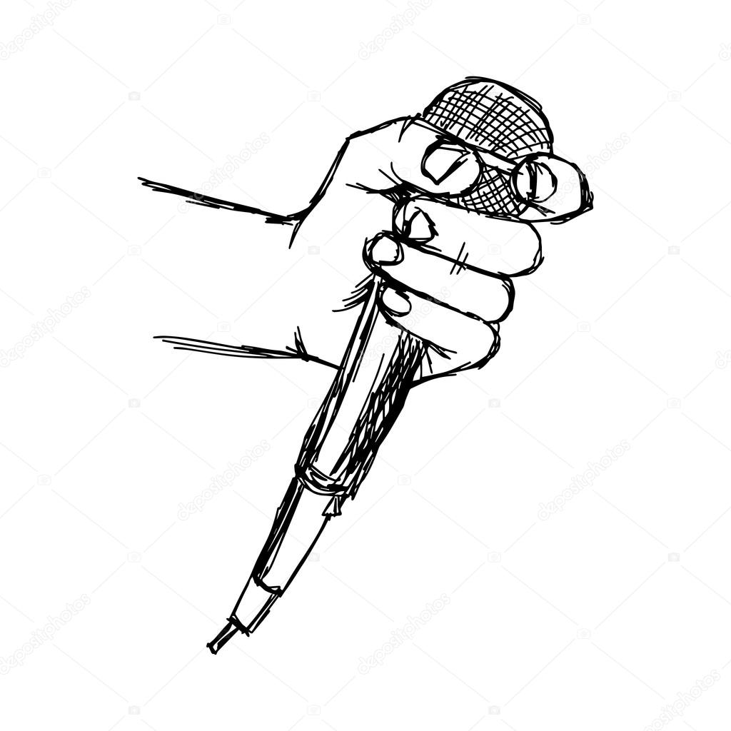 Illustation Vector Sketch Hand With Microphone