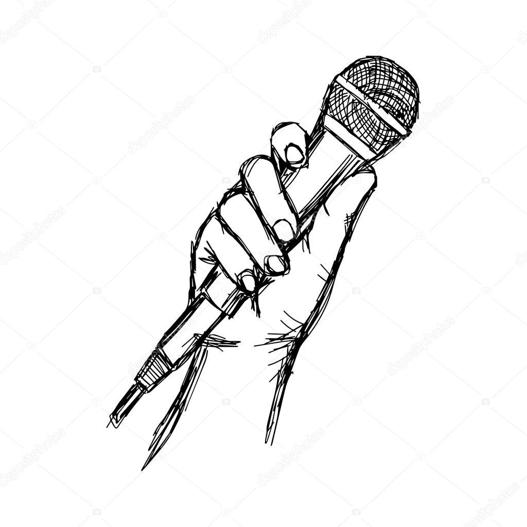 Mao De Desenho Ilustracao Vetorial Com Microfone