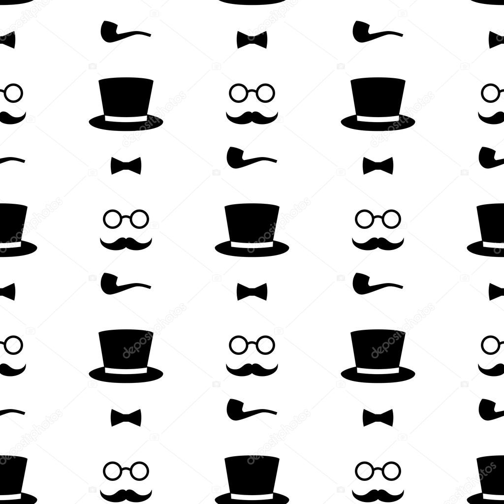 Seamless Pattern With Tobacco Pipe Bow Tie Hat Mustache